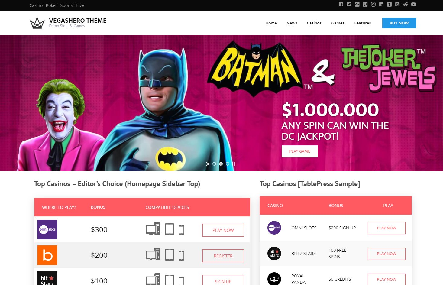 vegashero gambling poker wordpress affiliate theme