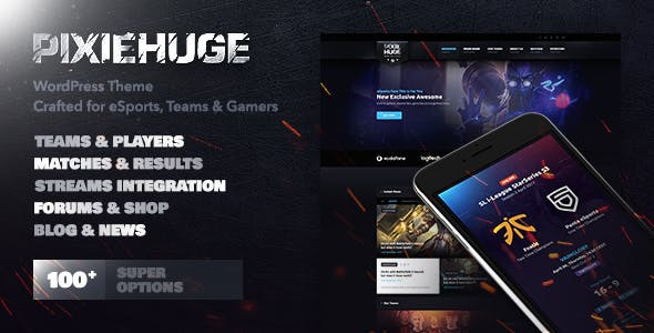 PixieHuge WordPress theme for gamers